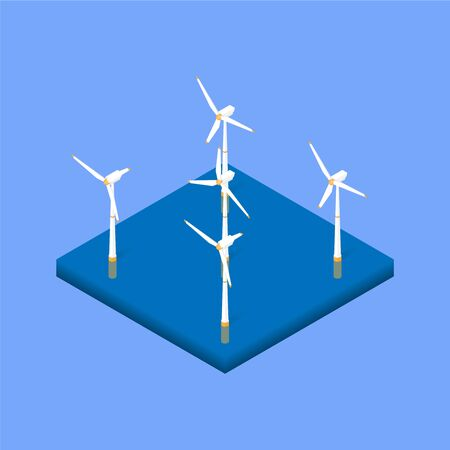 Wind energy park. Wind power station in the sea. Vector isometric illustration Vettoriali