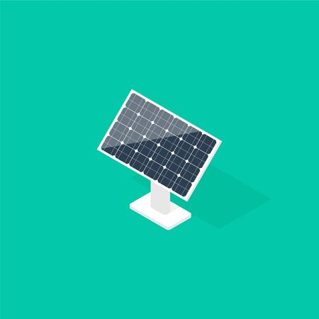 Solar panel in isometric projection. Renewable energy source. Vector illustration
