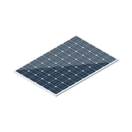 Isometric solar panel isolated on white background. Vector Vettoriali