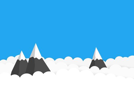 The tops of the mountains among the clouds. Vector background with empty place for your text Vettoriali
