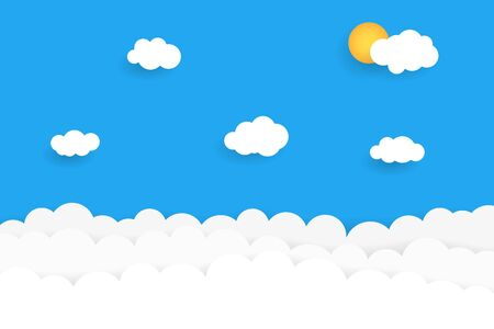 Blue sky with clouds. Vector illustration Vettoriali