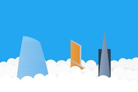 Skyscrapers in the clouds vector background in flat style