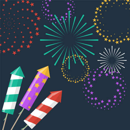Firework rockets with sparkling fireworks explosions Ilustrace