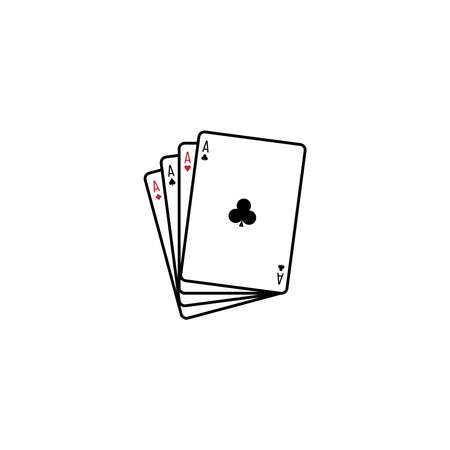 Four aces playing cards. Playing card icon