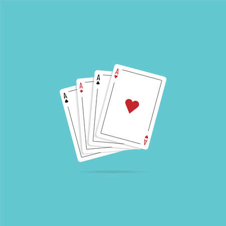 Four aces playing cards. Vector illustration in flat style