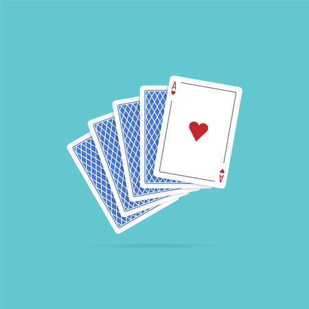 Ace of hearts and four cards. illustration in flat style