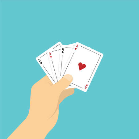 Four aces playing cards in hand. illustration