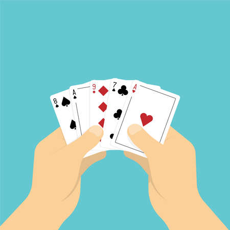 Playing cards in hand. Vector illustration in flat style