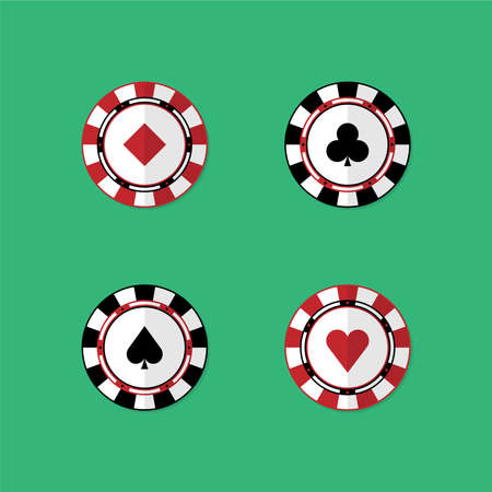Set of chips for playing poker and casino. Vector in flat style