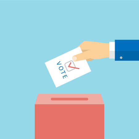 Paper ballot and box for presidential election. Hand voter with card. Vector in flat style 向量圖像
