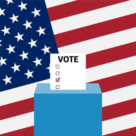 Ballot box for presidential election against the background of the usa flag. Vector