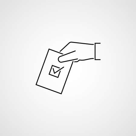 Hand with ballot. Election vote concept. Simple line design. Vector illustration 免版税图像 - 156772915