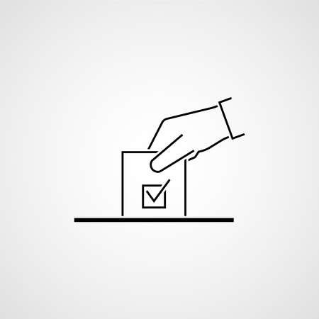 Hand with ballot. Election vote concept. Simple line design. Vector illustration 向量圖像