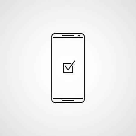 Checkmark on smartphone screen. Checkmark vector illustration