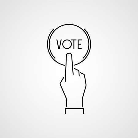 Online vote icon. Hand press button. Vector 向量圖像