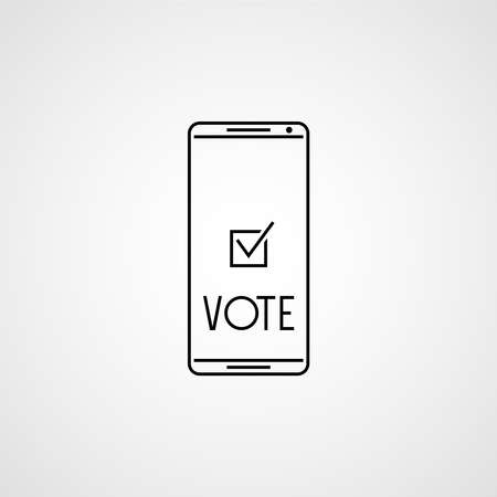 Checkmark on smartphone screen. Voting app on the screen. Vector illustration 向量圖像