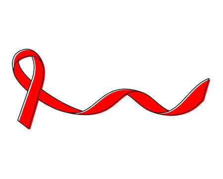 Red ribbon HIV, AIDS on white background. World aids day symbol. Vector