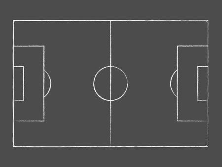 Chalk drawing of an empty soccer field on a backboard. Vector 矢量图像