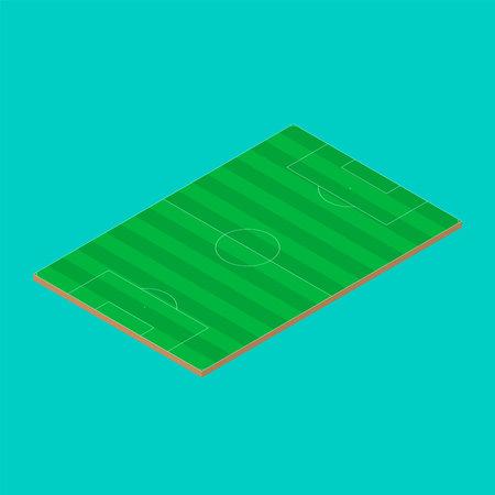 Soccer field, european football stadium. Isometric illustration. Vector background