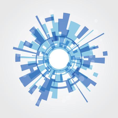 파란색 사각형에서 추상적 인 배경을 흰색