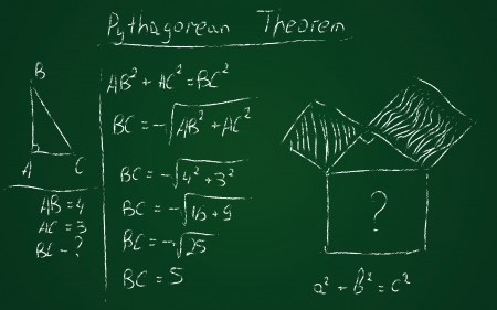 theorem: Back to school hand drawn pythagorean theorem Illustration