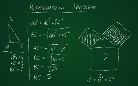 theorem: Teorema de Pit�goras Volver a la escuela dibujado a mano Vectores