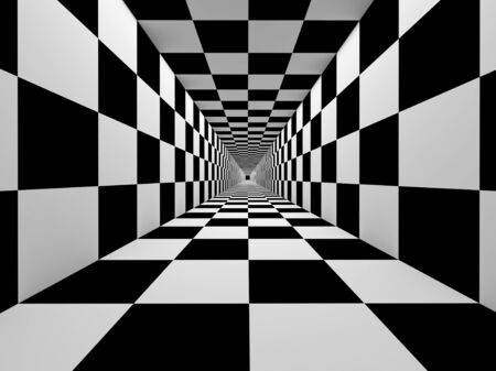 rasterized: Checkered black and white tunnel