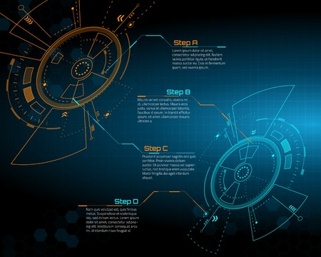 touch screen interface: Sci fi futuristic user interface. Vector illustration.