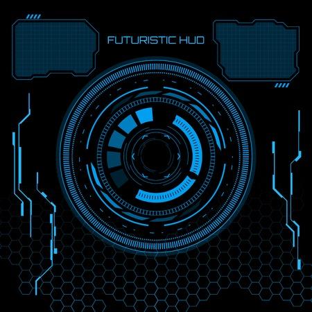 Sci fi 未来的なユーザー インターフェイス。ベクトル イラスト。