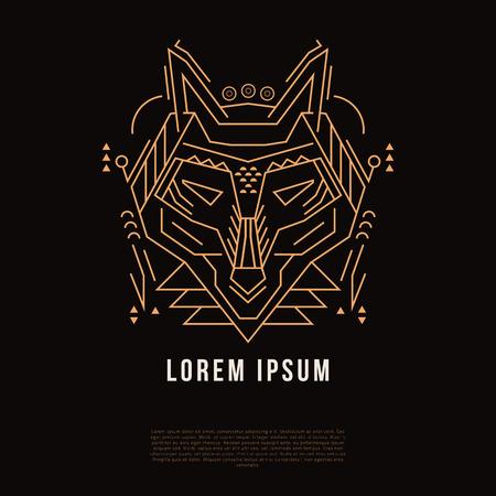 Wolfs linear head. Geometric stylized silhouette. Vector illustration