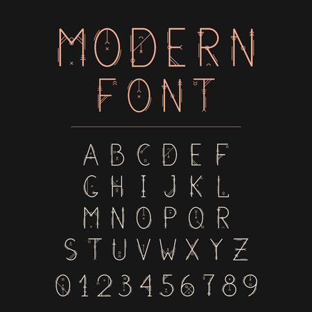 Sacred font, geometry alphabet. Geometric typeface with decorative elements. Stok Fotoğraf - 81633974