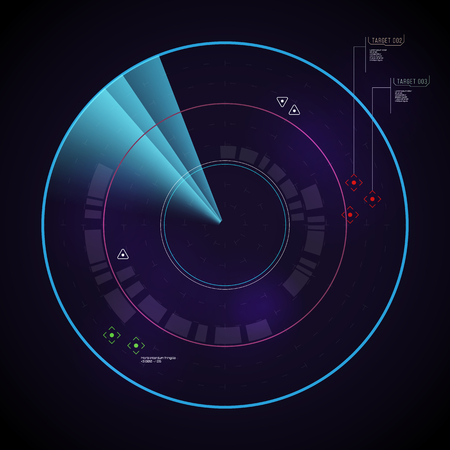 Digital dynamic radar with targets. Vector illustration.