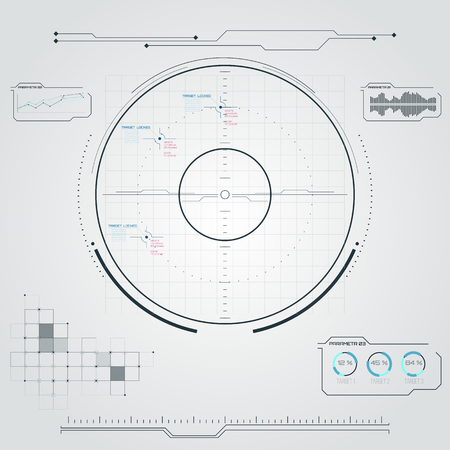 blip: Digital radar screen. Futuristic user interface with datailed panels.