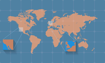 Detailed world map on the background with grid. Vector illustration