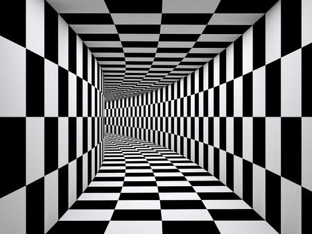 체크 무늬 흑백 터널.