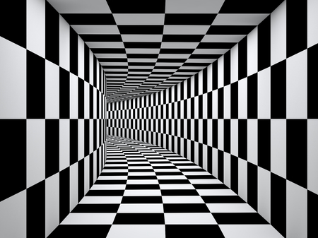 Checkered black and white tunnel.