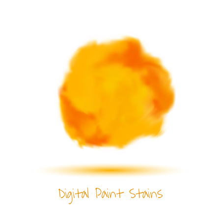 Digital red paint stain. Vector illustration.