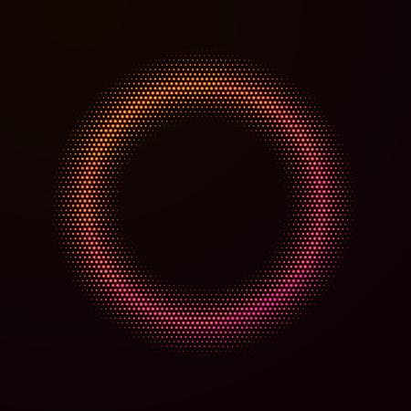 Abstract disco neon circle. Vector illustration.