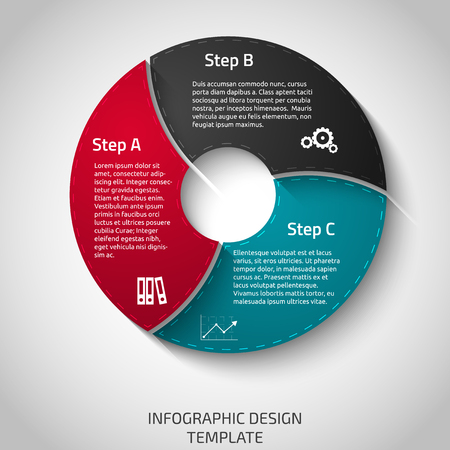 Template with three steps or options for diagrams, presentations and graphs