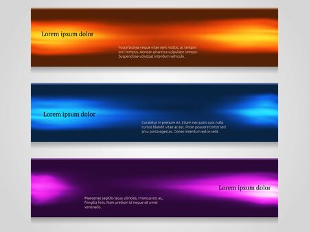 Set of smooth shiny banners. Vector illustration for flyers, web design or presentations.