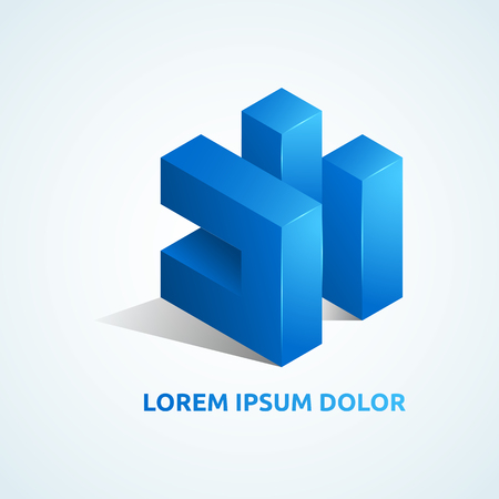 Abstract vector logo template. Isometric design element.