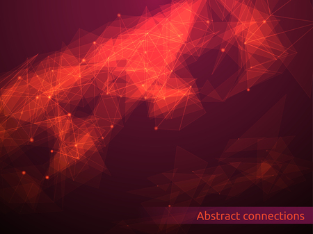 Triangular tech background with connections. Vector illustration.