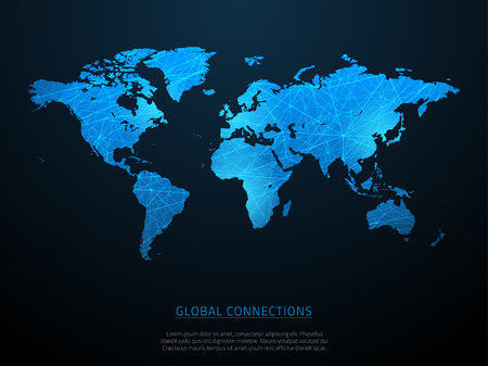 World map with abstract connections and gradient. Vector illustration. Illustration