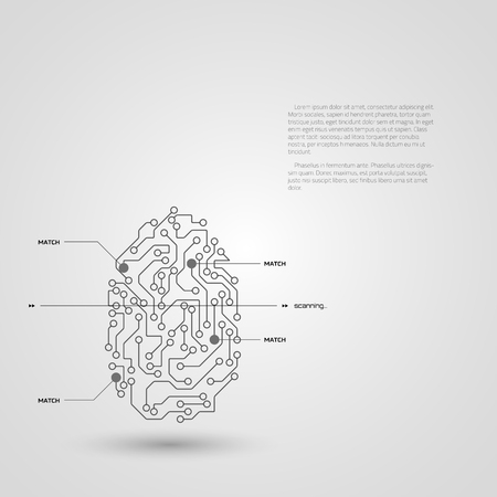 Concept of fingerprint technology identification. Vector illustration. Illustration