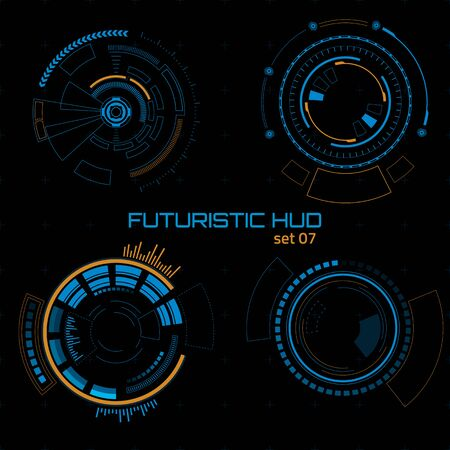 Set of sci fi futuristic user interfaces on dark background. Vector illustration.