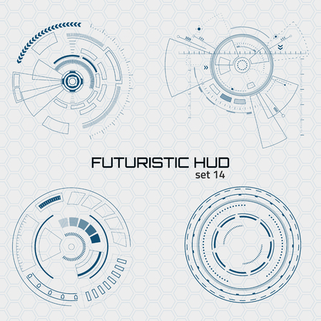 Set of sci fi futuristic user interfaces on grey background. Vector illustration.