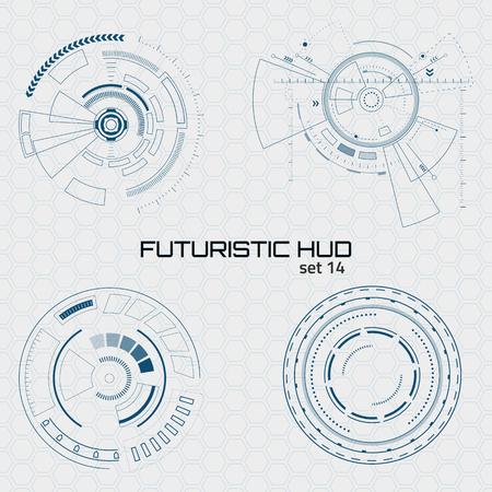 Satz von futuristischen Sci-Fi-Benutzeroberflächen auf grauem Hintergrund. Vektorillustration.