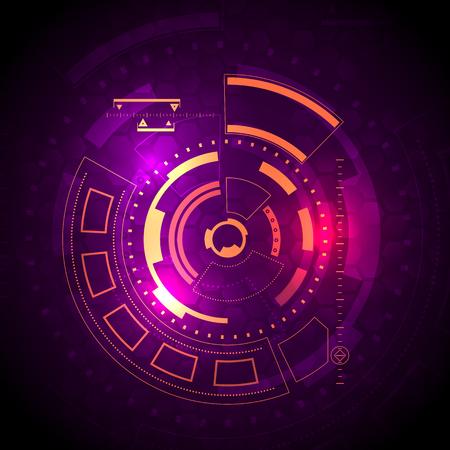 Sci-fi futuristic user interface Vector illustration. Vettoriali