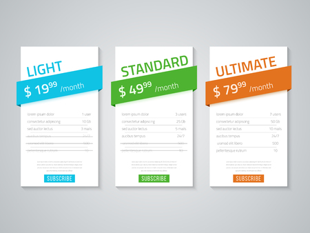Web pricing table design for business .Vector illustration.