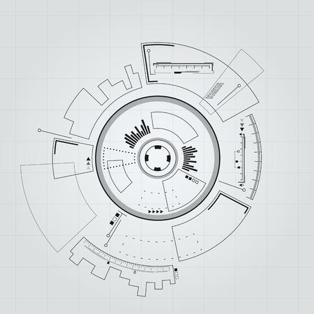 Sci-fi futuristic user interface. Vector illustration.